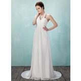 Império Cabresto Cauda de sereia De chiffon Vestido de noiva com Pregueado Bordado (002011555)