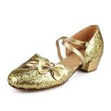 Женщины Детская обувь Мерцающая отделка Сандалии Современный Бальные танцы с бантом Обувь для танцев (053013159)