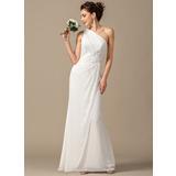 Платье-чехол Одно плечо Длина до пола шифон Платье Подружки Невесты с Рябь (007068385)