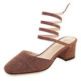 Женщины ткань Устойчивый каблук На каблуках с Шнуровка обувь (085205719)