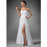 A-Line Sweetheart Floor-Length Chiffon Evening Dress With Ruffle Split Front (017022520)