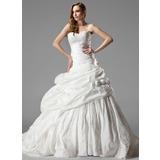 Платье для Балла В виде сердца Церковный шлейф Тафта Свадебные Платье с Рябь кружева Цветы (002000461)