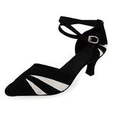 Женщины Мерцающая отделка нубук На каблуках На каблуках Бальные танцы с Ремешок на щиколотке Обувь для танцев (053013204)