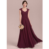 A-Line/Princess Sweetheart Floor-Length Chiffon Lace Evening Dress With Ruffle Beading (017144987)