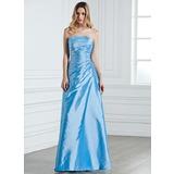 Платье-чехол Без лямок Длина до пола Тафта Платье Подружки Невесты с Рябь Бисер (007001076)
