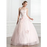 Платье для Балла В виде сердца Длина до пола Тюль Пышное платье с Бисер Цветы (021020807)