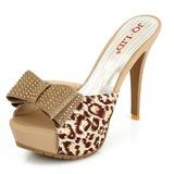 Mulheres Pano Salto agulha Sandálias Plataforma Peep toe Chinelos com Strass Bowknot sapatos (087025797)