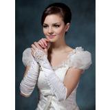 Elastische Satin Elbow Lengte Bruids Handschoenen (014020515)