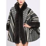 Raidallinen Kylmä sää Keinotekoinen Wool Ponchot (204189017)