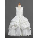 De baile Comprimento médio Vestidos de Menina das Flores - Tafetá Sem magas Decote V com Pregueado/Renda/Escolher acima saia (010015807)