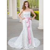 Trumpet/Mermaid Sweetheart Chapel Train Lace Wedding Dress With Sash Bow(s) (002000689)