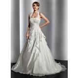 Vestidos princesa/ Formato A Cabresto Cauda de sereia Tafetá Vestido de noiva com Pregueado Renda Bordado (002014817)