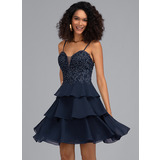 A-Line Sweetheart Short/Mini Chiffon Homecoming Dress With Beading (022203145)