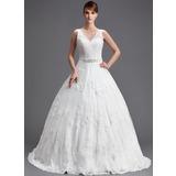 Платье для Балла V-образный Церковный шлейф Тюль Свадебные Платье с Бисер аппликации кружева блестками (002004754)