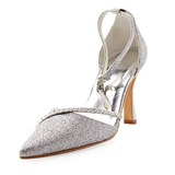 Vrouwen Sprankelende Glitter Stiletto Heel Closed Toe Pumps met Bergkristal (047010755)