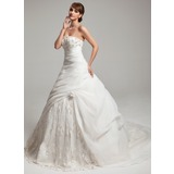 Платье для Балла В виде сердца Церемониальный шлейф Органза кружева Свадебные Платье с Рябь Бисер Цветы (002017546)