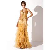Trumpet/Mermaid Halter Floor-Length Charmeuse Organza Holiday Dress With Beading Cascading Ruffles (020025991)