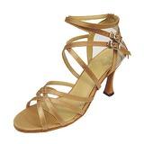 Женщины Атлас На каблуках Сандалии Латино с Ремешок на щиколотке Обувь для танцев (053013032)