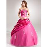 Платье для Балла Волнистый Длина до пола Тафта Тюль Пышное платье с Рябь Бисер аппликации кружева Цветы блестками (021004655)