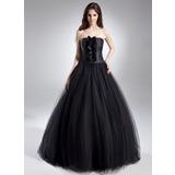 Платье для Балла Без лямок Длина до пола Тюль Пышное платье с Рябь (021015612)