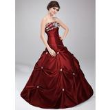 Платье для Балла Без лямок Длина до пола Тафта Пышное платье с Бисер аппликации кружева блестками (021020630)