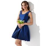 Трапеция/Принцесса Круглый Мини-платье Тафта Платье для Встречи Выпускников (022020872)