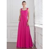 Império Amada Longos Tecido de seda Vestido de madrinha com Pregueado (007005310)