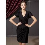 Платье-чехол V-образный Длина до колен Jersey Коктейльные Платье с Рябь (016021285)
