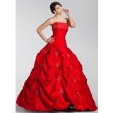 Платье для Балла Без лямок Длина до пола Тафта Пышное платье с Вышито Рябь Бисер (021020887)