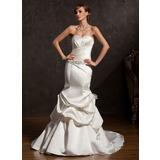 Trompete/Sereia Coração Cauda longa Cetim Vestido de noiva com Pregueado Bordado Curvado (002015175)