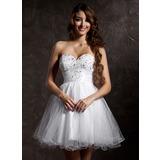 Vestidos princesa/ Formato A Coração Curto/Mini Tule Vestido de boas vindas com Bordado (022020899)