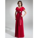 Трапеция/Принцесса V-образный Длина до пола шифон Платье Для Матери Невесты с Булавка с хрустальным цветком Бант(ы) Ниспадающие оборки (008006323)