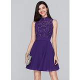 A-Line High Neck Short/Mini Chiffon Homecoming Dress With Beading Sequins (022124839)