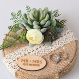 Personalized Linen Ring Holder With Artifical Plants (103203895)