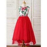 Corte A Assimétrico Vestidos de Menina das Flores - Cetim/Tule Sem magas Decote redondo com Curvado/Buraco de volta (010183546)
