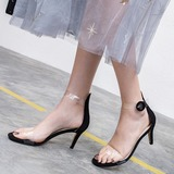 Women's Suede Rubber Stiletto Heel Sandals Pumps Peep Toe With Sparkling Glitter Buckle shoes (087208930)