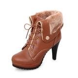 Женщины кожа Высокий тонкий каблук Платформа Полусапоги с пряжка обувь (088033804)