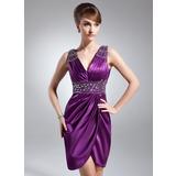 Платье-чехол V-образный Длина до колен Шармёз Платье Для Матери Невесты с Рябь Бисер (008006127)