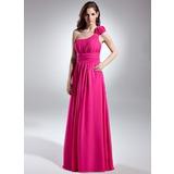 Vestidos princesa/ Formato A Um ombro Longos De chiffon Vestido de madrinha com Pregueado (007015613)