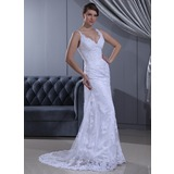 Sheath/Column V-neck Sweep Train Lace Wedding Dress With Ruffle Beading (002011630)
