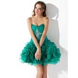Vestidos princesa/ Formato A Coração Curto/Mini Organza de Vestido de boas vindas com Bordado Babados em cascata (022010560)