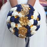 Rond Satiné/Perle d'imitation Bouquets de mariée (vendu en une seule pièce) - (123182161)