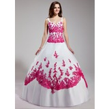 Ball-Gown V-neck Floor-Length Organza Quinceanera Dress With Embroidered Beading Sequins (021003113)
