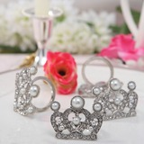 Crown Design Zinc Alloy Napkin Rings With Pearl (Set of 4) (051020304)