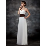 Sheath/Column Sweetheart Floor-Length Chiffon Bridesmaid Dress With Ruffle Sash (007001740)