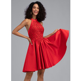 A-Line Halter Short/Mini Satin Homecoming Dress With Pockets (022203130)