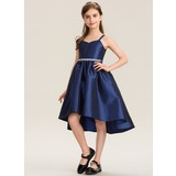 A-Line Sweetheart Asymmetrical Taffeta Junior Bridesmaid Dress With Beading Bow(s) (009173276)