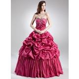 De baile Coração Longos Tafetá Vestido quinceanera com Pregueado Bordado fecho de correr (021015702)