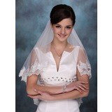 Two-tier Fingertip Bridal Veils With Lace Applique Edge (006013291)
