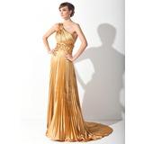 Vestidos princesa/ Formato A Um ombro Cauda de sereia Charmeuse Vestido de baile com Apliques de Renda Plissada (018015060)